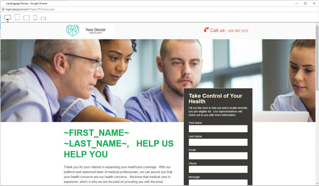 Customized Version of An Easypurl Landing Page template