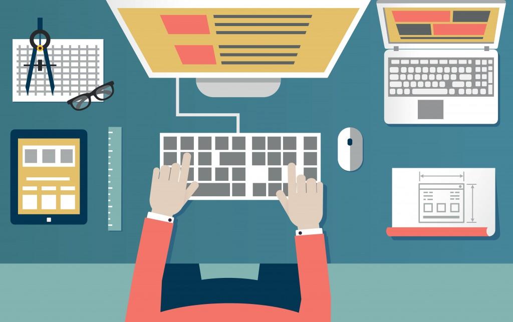 designer designing a landing page form