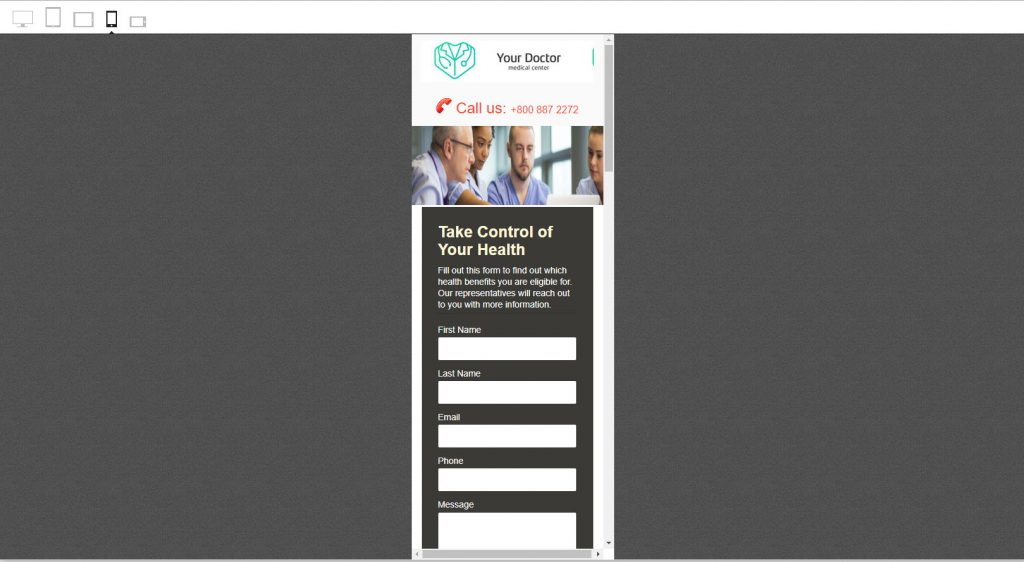 Mobile View of Our Landing Page Template Builder