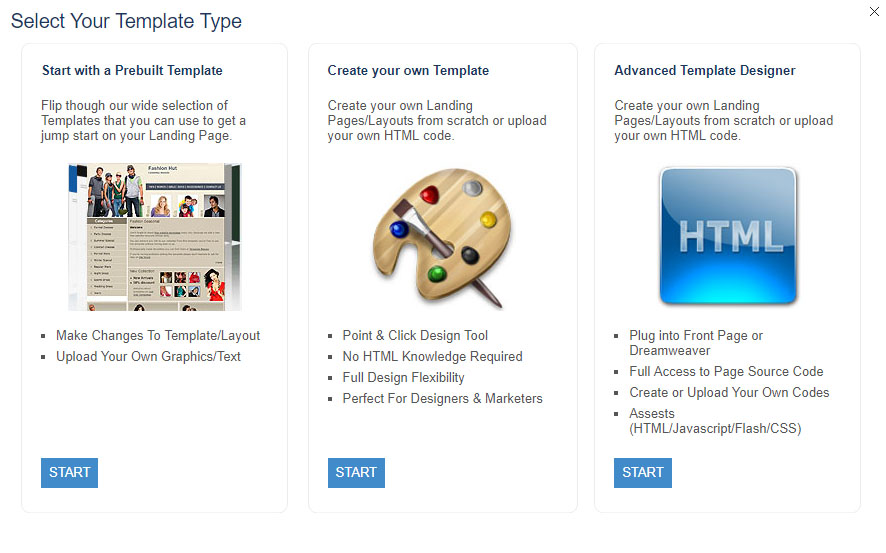These are the different types of Landing Page templates that Easypurl offers
